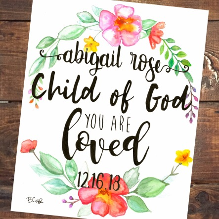 Abigail Rose Baptism Print